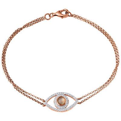 Diamond Evil Eye Bracelet 7 Inch 14k Rose Gold Double Strand Rolo Link 0.24 Ct. - Eye Link Diamond Bracelet