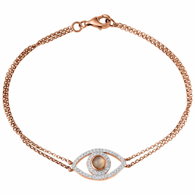 Diamond Evil Eye Bracelet 7 Inch 14k Rose Gold Double Strand Rolo Link 0.24 Ct.