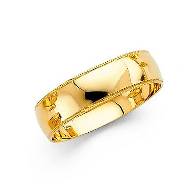 Plain Wedding Band Solid 14k Yellow Gold Dome Ring Milgrain Edge Polish Men 6 mm