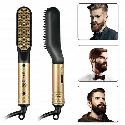 Electric Hair Beard Straightener Quick Heated Comb Brush Best Gift For