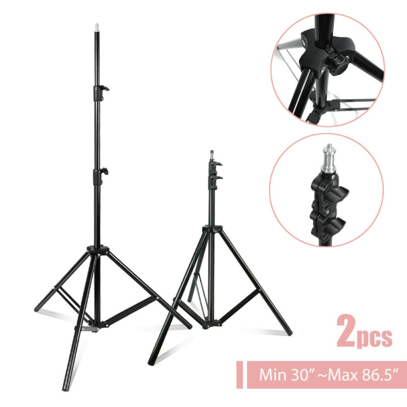 Photography Adjustable Light Stand Continuous Lighting Tripod Photo Studio 2 Pcs