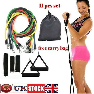 11pcs Exercise Resistance Band Set Yoga Fitness Pilates Workout Training Bands