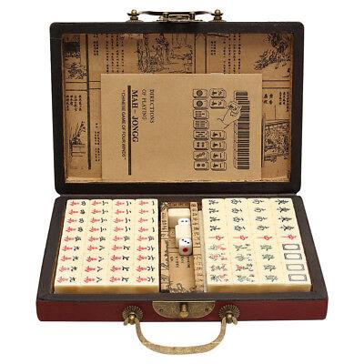 Portable Mahjong Box Rare Game Chinese 144 Tiles Mah-Jong Set With Leather Box