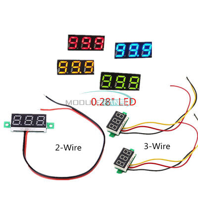 0.28 Voltmeter Led Display Voltage Panel Meter Redblueyellowgreen Dc 0-100v