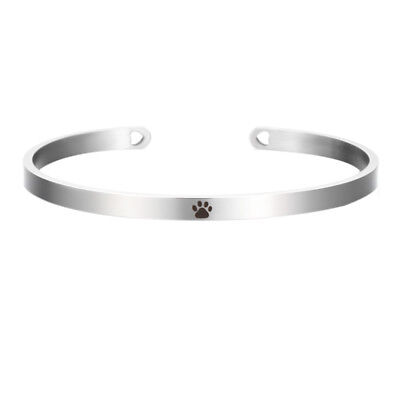 Paw Print Dog Cat Lover Silver Stainless Steel Cuff Bangle - Cat Bangles