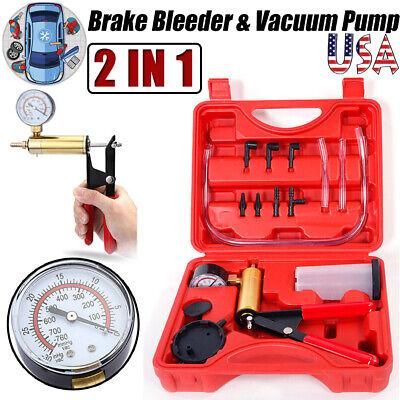 Car Hand-held Brake Bleeder Vacuum Pump Gauge Tester Fluid Bleeding Tool Kit