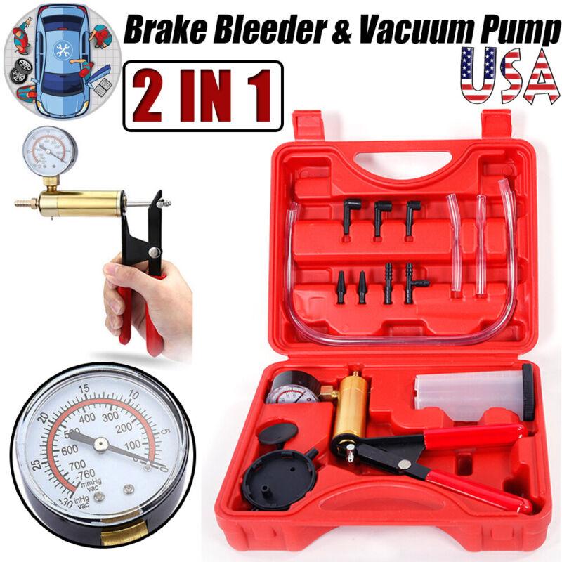 Manual Hand-Held Brake Bleeder & Vacuum Pump Gauge Tester Set Fluid Bleeder Tool