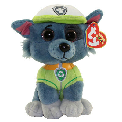 "TY Beanie Baby 6"" Paw Patrol ROCKY the Grey Dog Plush Stuffed Animal Toy MWMT's"