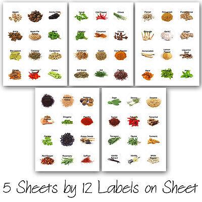 60 KITCHEN SPICES HERB ROUND JAR BOTTLES ILLUSTRATED PRINTED STICKERS - Illustration Round Sticker