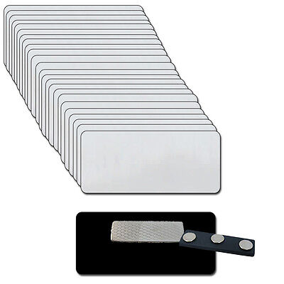 Blank Silver Name Badge Kit U 25 Magnets Labels 1 12 X 3 Tags 18 Corners