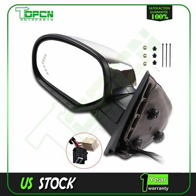 Left Power Memory Heated Chrome Signals Driver Side Mirror For GM Pickup