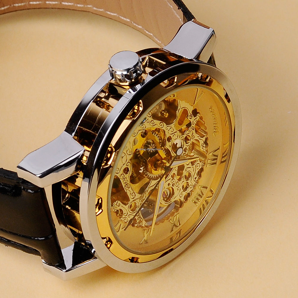 Luxury Men's Skeleton Dial Automatic Mechanical Watch leather band Sport Gift