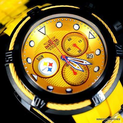 Invicta NFL Bolt Zeus Pittsburgh Steelers Chrono Swiss Yellow 52mm Watch New
