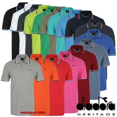 Diadora T-shirt - MAGLIA T-SHIRT UOMO diadora bordata La polo 190 gr. Heritage 161006 100% Cotone