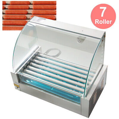 Commercial 18 Hot Dog 7 Roller Grill Cooker W Cover Hotdog Maker Equipment -usa