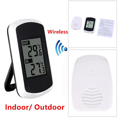 Digital LCD In / Outdoor Wireless Weather Station with Sensor Thermometers -