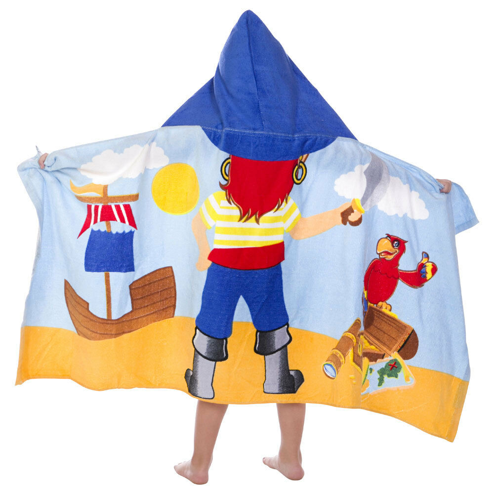 Kids Toddler Boys Captain Pirate Hooded Poncho Towel Pool Be
