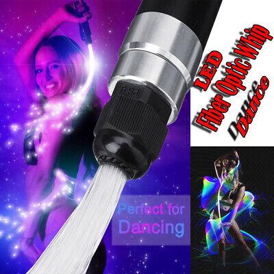 5FT LED Fiber Optic Flies Pixel Whip 360°Swivel Glow Sticks Toy Flow Dance PARTY