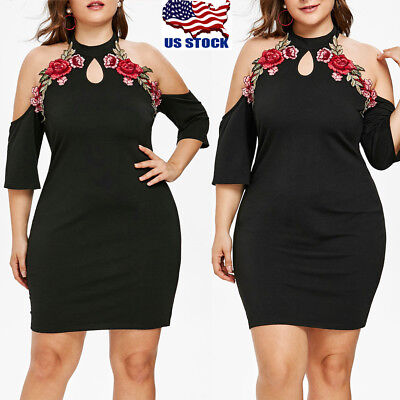 Sexy Women Casaul Dress Plus Size Party Cocktail Bodycon Cold Shoulder - Party Clothing