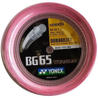 Yonex bg-65 TI 200 ROTOLO M badminton Stringa per racchetta Rosa NUOVO WOW