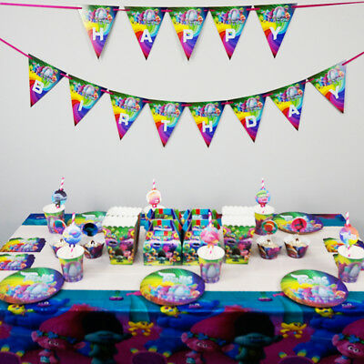 98pcs For 12 Kids Trolls Theme Party Tableware set, Plate+Straws+Table Cover ect - Table Themes For Parties