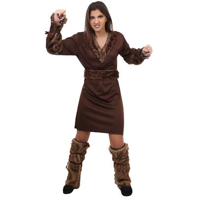 LADIES VIKING COSTUME NORDIC WARRIOR HISTORICAL MEDIEVAL FANCY DRESS OUTFIT