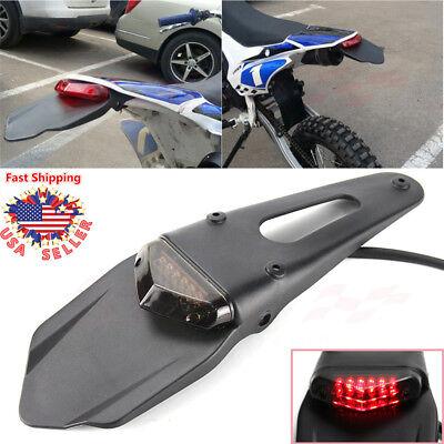 12V Motorcycle Universal Fender Tail Light Brake LED Smoke Dirt Bike Off Road US