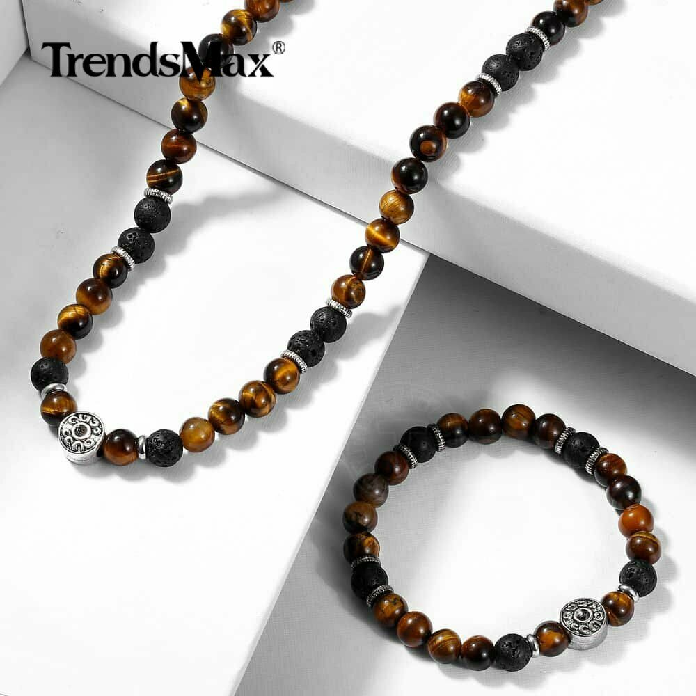 Jewellery - Men Natural Yellow Tiger's Eye Beads Choker Necklace Bracelet Jewelry Unisex