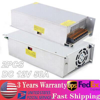 2 Dc 12v 50a Amp 110v 220v 600w Power Supply Led Strip Light 12v Volt 110 220 Ac