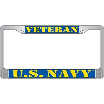 "US NAVY Veteran Metal Chrome License Plate Frame Blue Yellow "" Made in USA """