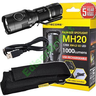 New NITECORE MH20 Cree LED 1000 Lumen USB Rechargeable Flashlight with holster