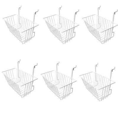 6 Pieces 12inx6inx6in White Metal Wire Slatwall Gridwall Narrow Deep Basket
