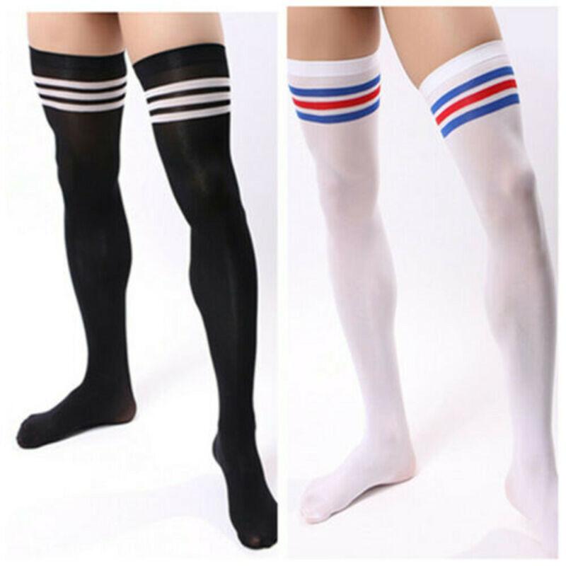 Men Soccer Thigh Stocks High Stockings Velvet Sport Striped