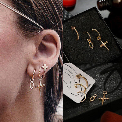 (3Pcs/Set Women Gold Cross Dangle Wave Round Ear Stud Earrings Fashion Jewelry)