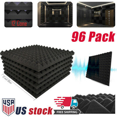 "96 Pack Pyramid Acoustic Foam Panels Studio Soundproofing Tiles 12""X12""X1"" US"