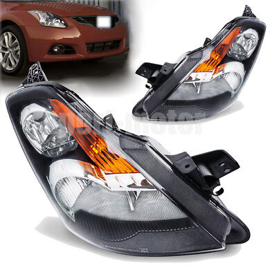 For 2007 2008 2009 Nissan Altima Black Factory Style Replacement Headlights Pair