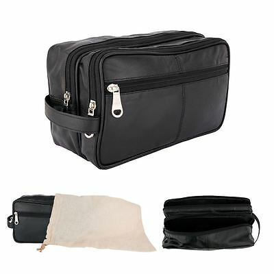 Mens Real Leather Travel Toiletry Shaving Cosmetic Organizier Wash Bag Case