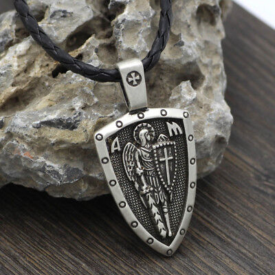 Archangel Saint St Michael Protect Us Medal Cross Shield Amulet Pendant Necklace