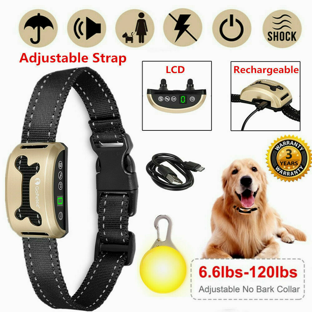 Details about Rechargeable Anti Bark Collar Stop Dog Barking Belt LCD W/  Sound & Vibration UK