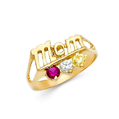 Ladies 14k Yellow Real Gold CZ Gem Birthstone Mothers Day Mom Ring -