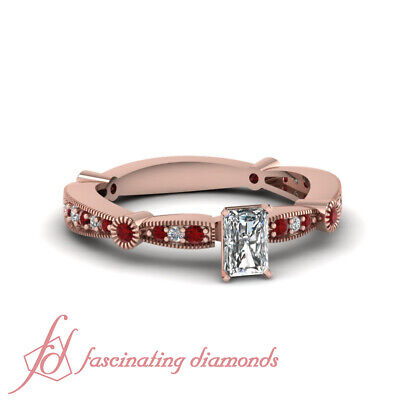 3/4 Carat Radiant Cut Diamond & Ruby Gemstone Milgrain Style Ring Pave Set GIA