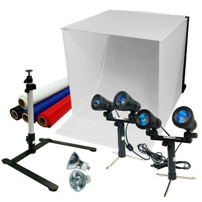 "24"" Photography Light Box Tent Kit Double Head Light Stand Continuous Light Kit"