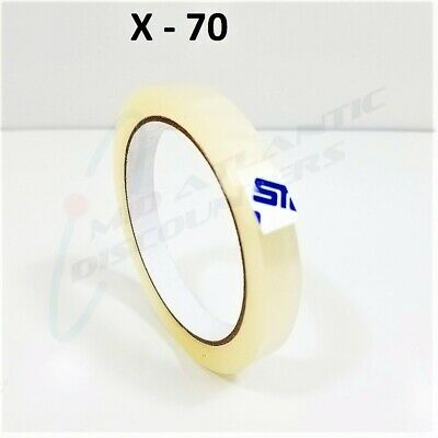 70 Rolls 12mm x 66m Clear Transparent Tape Sealing Packing Stationery