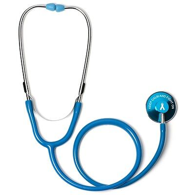 Light Blue Single Head Stethoscope With Keep Calm And Fight On Cancer