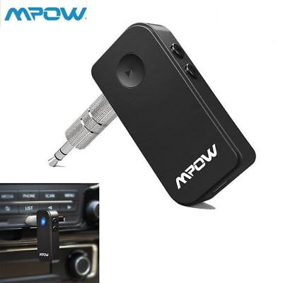 MPOW Wireless Bluetooth 3.5mm Car Aux Audio Stereo Music Receiver Adapter/Mic US