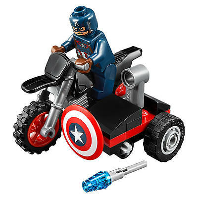 LEGO Marvel Super Heroes Captain America minifigure & Motorcycle new
