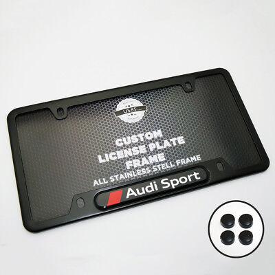 Black Stainless Steel Front Rear Emblem License Plate Frame Cover - Audi Sport