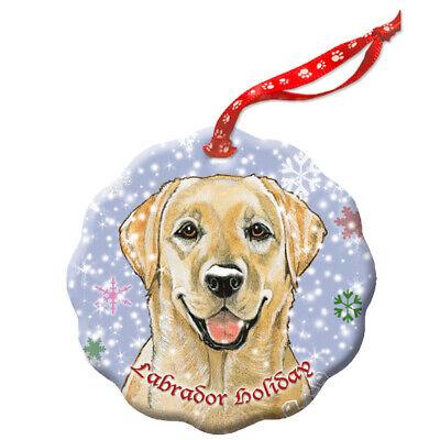 Labrador Retriever Yellow Lab Holiday Porcelain Christmas Tree Ornament