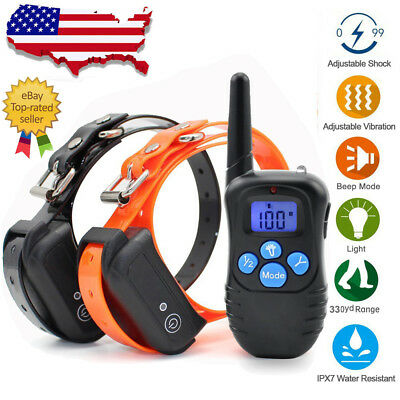 Pet Trainer Waterproof Rechargeable Dog Training Shock Collar for S M L 1/2 Dog
