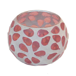 Flower Mosaic Tea Light Holder - Pink
